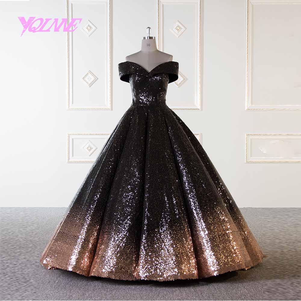 Yqlnne Gold And Black Arabic Wedding Dress 2019 Ball Gown