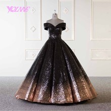 cbd8e7bab7 YQLNNE złoty i czarny suknia ślubna arabski 2019 suknia balowa suknie  ślubne Off the Shoulder Lace-up Gradient cekiny