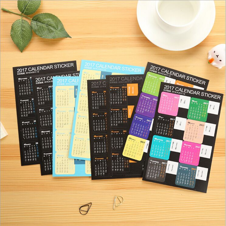 Diy Calendar Supplies : Creative year rainbow mini calendar stickers