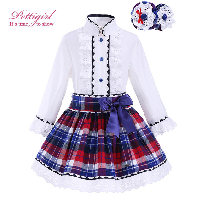 Pettigirl Spring Girls Clothing Set with Headwear Kids Lace Cuff Boutique Grid White Top Plaid Skirts Girls Outfit G-DMCS908-883