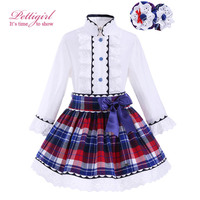 Pettigirl Spring Girls Clothing Set with Headwear Lace Cuff Boutique Grid White Top Plaid Skirts Kids Girls Outfit G-DMCS908-883