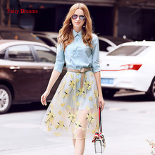Fairy Dreams 2 Piece Set Women Light Blue Shirt Top And Skirt Mesh Embroidery 2017 New Style Spring Summer Suit Fashion Clothing