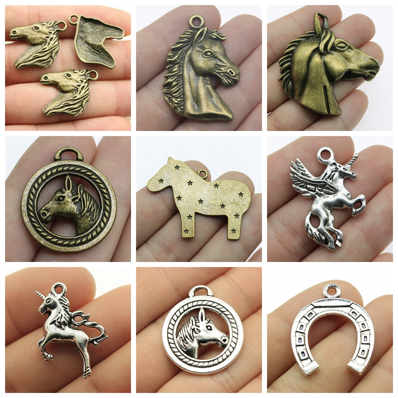 Unicorn Charm Horseshoe Mix Charms For Jewelry Making Diy Craft Supplies Horse Head Accessories New Gift