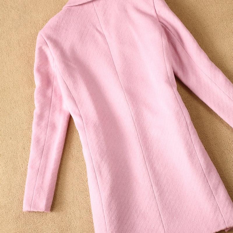 Costume Sauvage 1 D'hiver Automne Nouvelle Femmes Veste Simple Hiver Laine Long De Rose Manteau Et U0xwUz