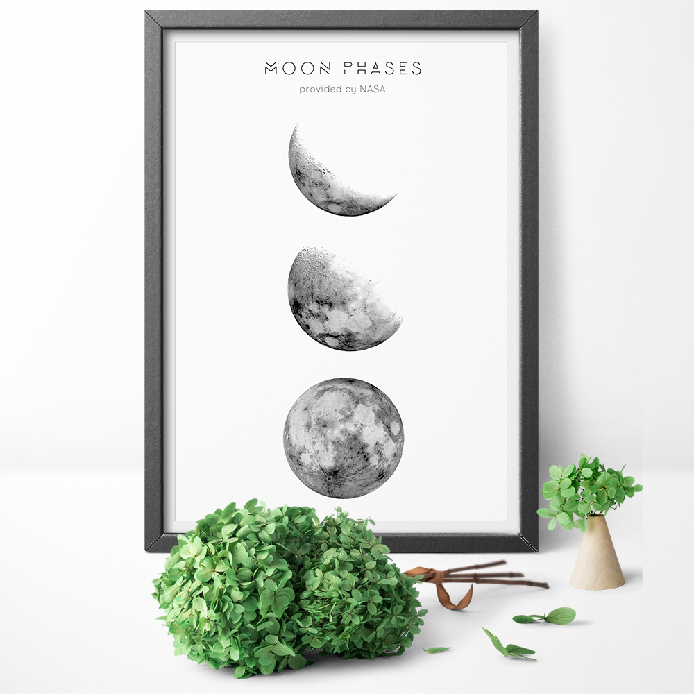 Nordic Black And White Lunar Phases of the Moon Print and Poster Wall Art Canvas Paintings for Living Room Wall Decor
