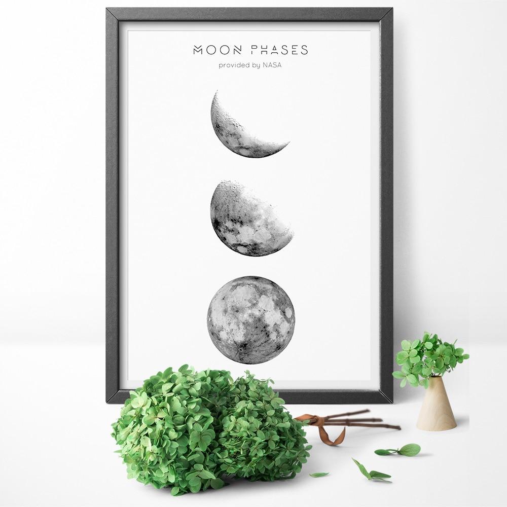 Nordic Schwarz Und Weiß Mondphasen Der Mond Und Poster Wandkunst Leinwand  Gemälde Für Wohnzimmer Wand Decor