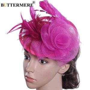 Image 2 - BUTTERMERE Fedora Hat Party Women Burgundy Hats Linen Wedding Lady Feather Flower Fascinator Pillbox Hat Bride Elegant Cap Black