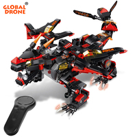 Global Drone Remote Control Dragon Robot Dragon Knight Building Blocks Birthday Christmas Gift Robots for Kids RC Toys for Boys