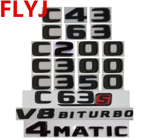 2018 Flat E300 Matte Black Trunk Letters Emblem Badge Sticker for Mercedes Benz