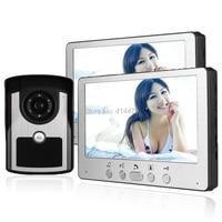 Домашнее видео домофон Дверные звонки Системы 2 Крытый 7 дюймов мониторы + 1 открытый вызов Камера