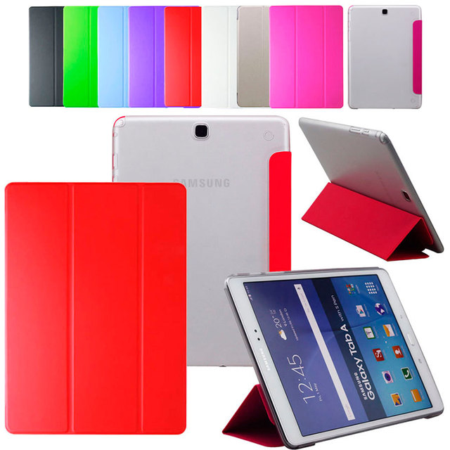 PU Leather Case for Samsung Galaxy Tab A 8.0 inch SM-T350 T351 T355 Transparent PC Back Cover Tablet Flip Case Stand Cover Skin