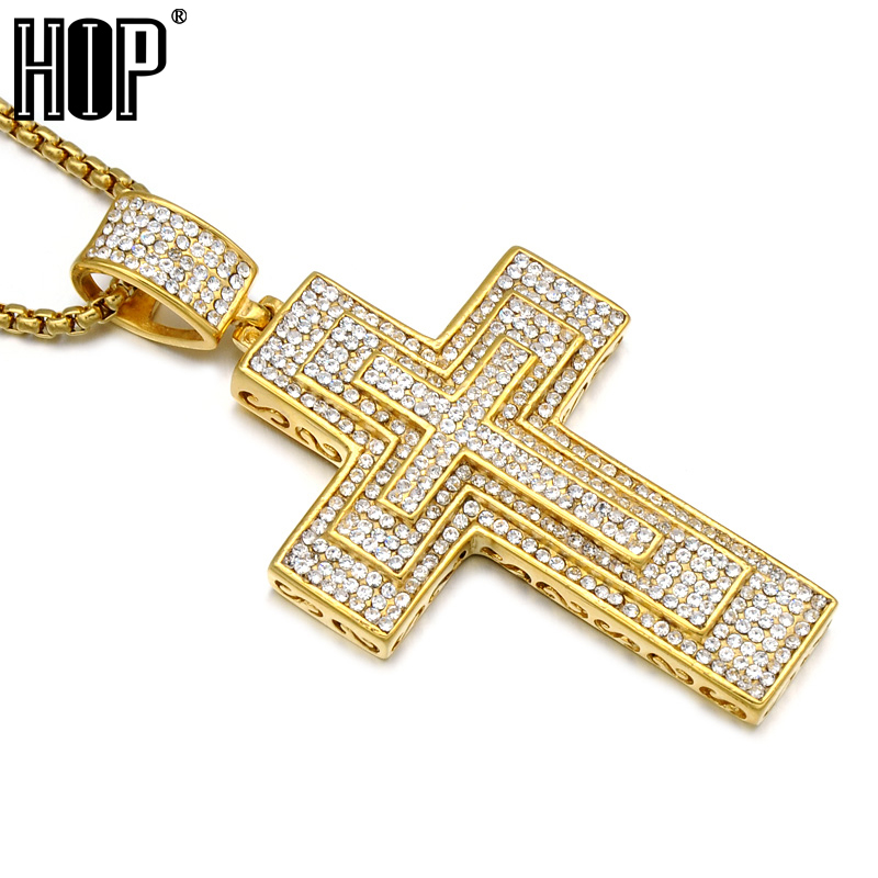 Hip Hop Micro Pave Full Rhinestone Stainless Steel Iced Out Bling 3 Layer <font><b>Cross</b></font> Pendants Necklaces for Men Jewelry