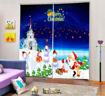 Santa Claus Blackout Curtains For Living room Bedding room Decor Tapestry Wall Carpet Drapes Cotinas