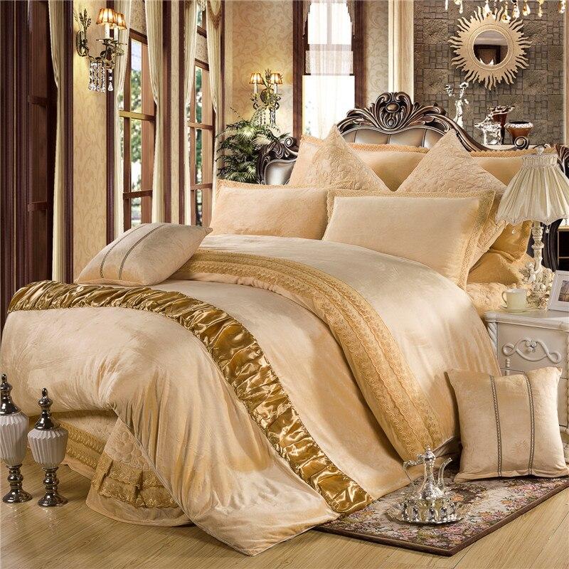 Ropa de cama abrigada de lana gruesa Red púrpura gris Queen King size juego de cama 4/6 Uds funda de edredón fundas de almohada 36 - 2