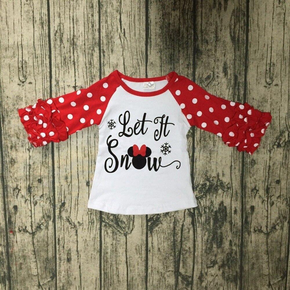 ¡Exclusiva! Otoño/Invierno bebé Niñas Ropa de los niños boutique de algodón camisetas raglans trajes de Navidad nieve nueva