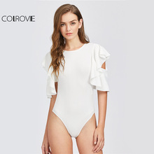 Colrovie рябить рукав белый боди Сексуальная вырез Для женщин основные элегантные летние Боди Мода 2017 г. новые офисные Тощий боди