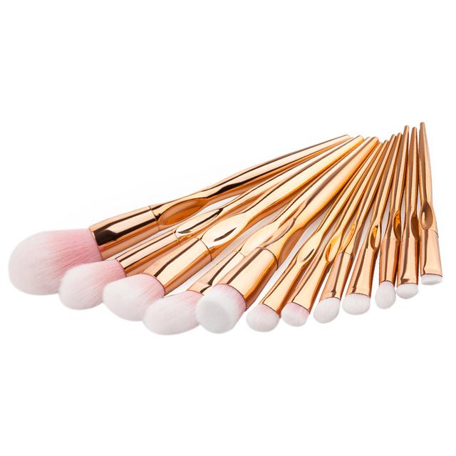 Rose Gold Handle Makeup Brushes (12 Pcs)