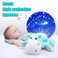 GGS Elephant, frog, bee, butterfly, hippo Toys electronic Soothing music light projection Animal Comfort Baby plush toy Doll