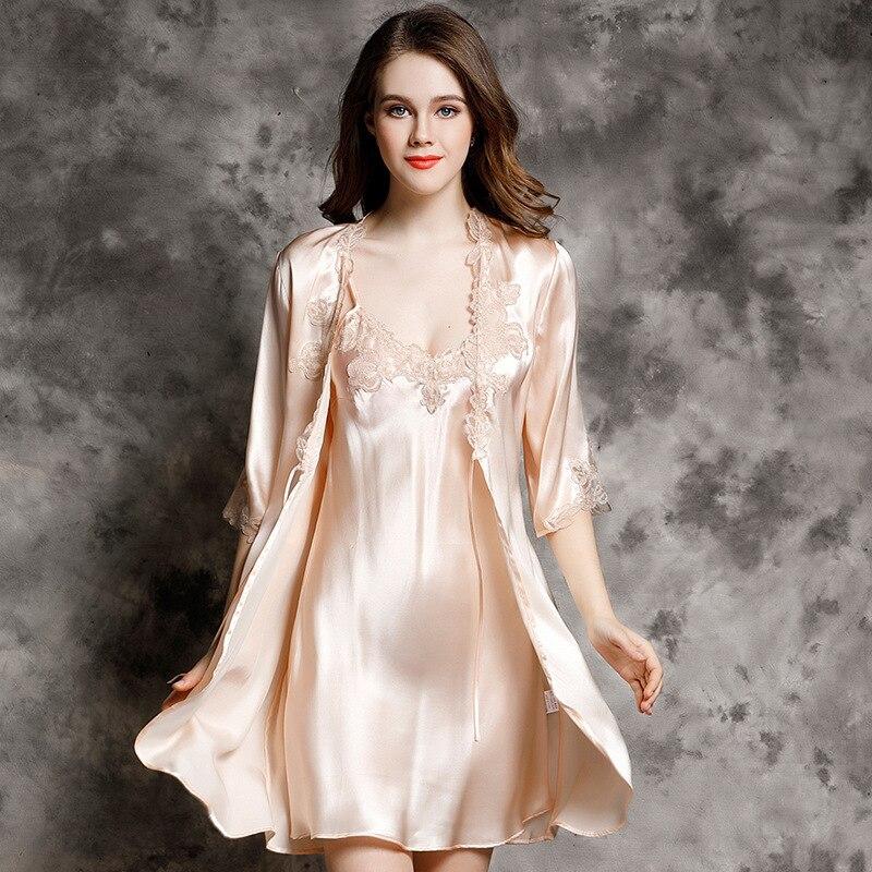 P9939 nouvelle mode 100% soie peignoir femme printemps et peignoir d'été luxueux vêtements de loisirs ensembles de chemise de nuit - 3