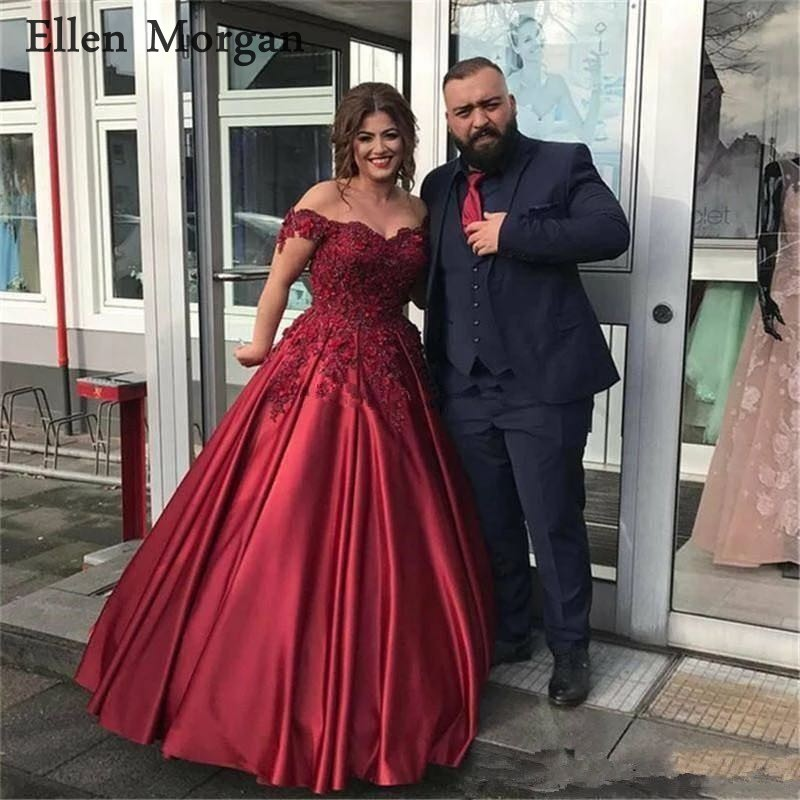 Burgundy Satin Ball Gowns   Prom     Dresses   2019 for Women with Lace Beaded Sexy Off Shoulder Corset Long Vestido De Festa