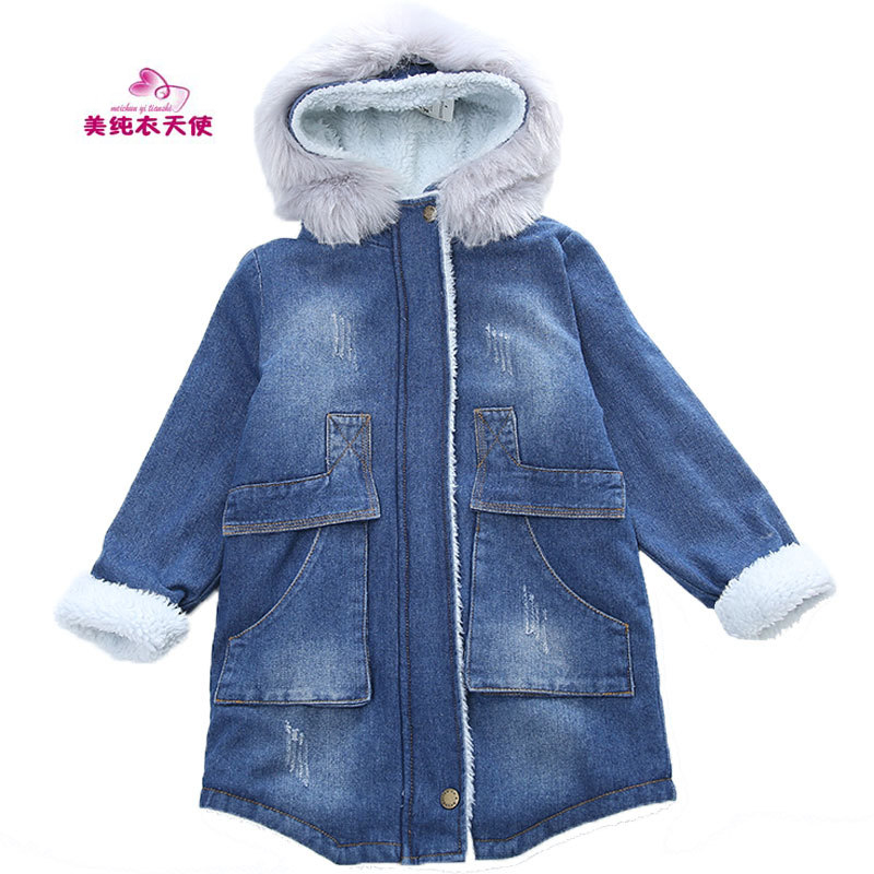 Girls Winter Denim Jacket Large Fur Collar Cotton Denim Outerwear Children Hooded Thick Fleece Warm Coat 4 6 8 9 10 12 13 Years new 2017 winter women coat long cotton jacket fur collar hooded 2 sides wear outerwear casual parka plus size manteau femme 0456