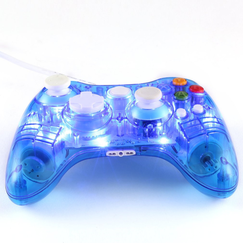 Transparent USB Wired Game Controller Joypad Gamepad Joystick with LED Flashing Light for Xbox 360 PC Gamers Plug and Play