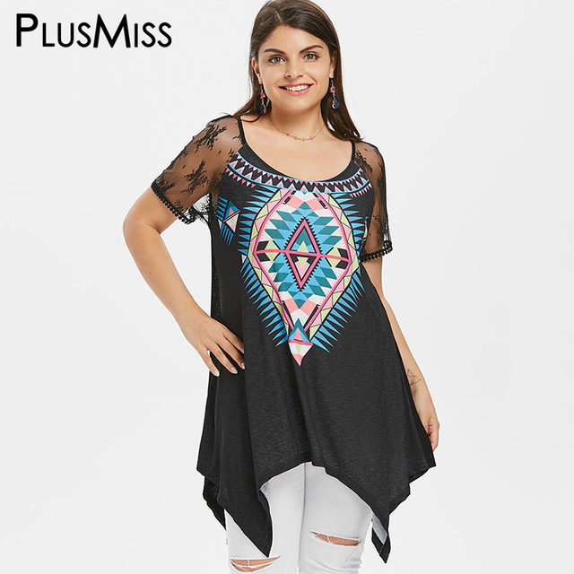 2faef54c3c3ed US $12.85 40% OFF|PlusMiss Plus Size 5XL XXXXL XXXL Sexy Sheer Mesh Lace  Sleeve Print Tops Ladies Summer Ethnic Boho Long Blouse Women Big Size-in  ...
