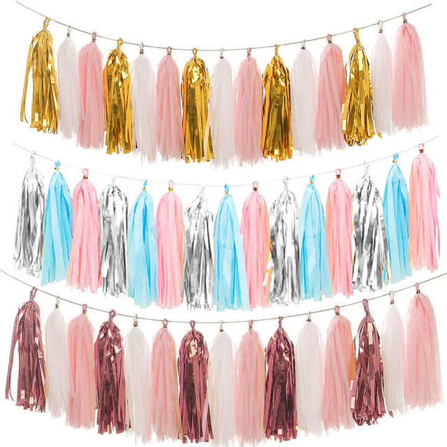 15sheet Tissue Paper Tassels Garland Ribbon Curtain Hanging Banners Wedding Party Decorations Baby Shower Paper Craft