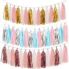 20pcs Wedding Party Decoration Paper Tassels Garland Ribbon Curtain Baby Shower Bachelorette Supplies Flamingo
