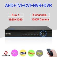 Blue Panel XMeye Hi3521A 8 Channel 8CH 1080P 2MP Full HD Hybrid Coaxial WIFI 6 in 1 XVI CVI TVI NVR AHD CCTV DVR Free Shipping