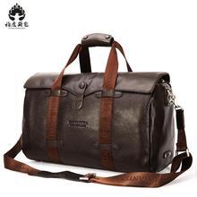 2018 Brand High Quality Genuine Leather Men's Travel Bags Bucket Handbags Shoulder Bag Big Volume Men Business Luggage Bag
