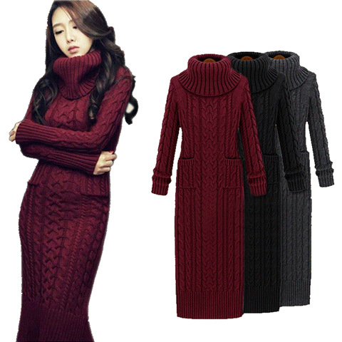 Women Winter Knit Dresses Europe Long Sleeve Turtleneck Casual Slim Warm  Maxi Sweater Dress Plus Size Women\'s Clothing