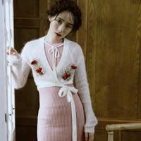 LYNETTE S CHINOISERIE Autumn Original Design Women Embroidery Short Cardigan Mohair Sweater