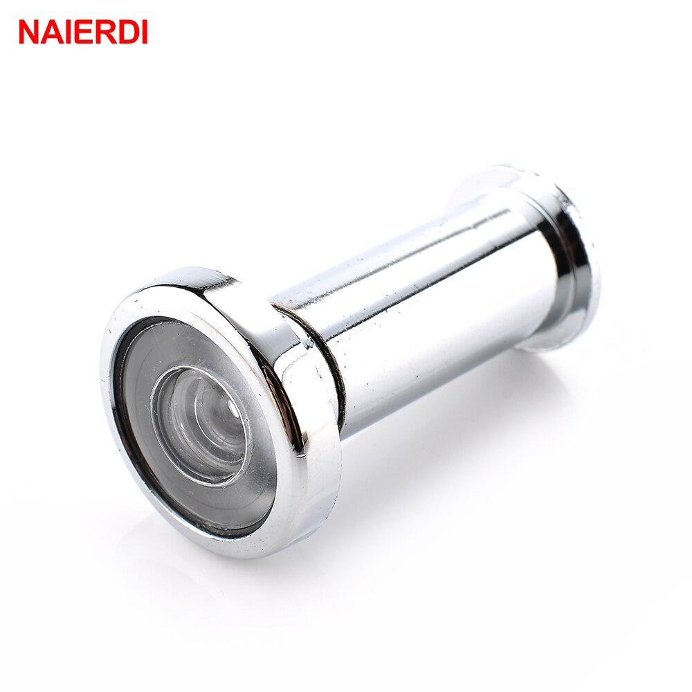 NAIERDI Door Viewer 180 Degree Wide Angle Peephole Security Hidden Door Adjustable Glass Lens For Furniture Hardware Tools