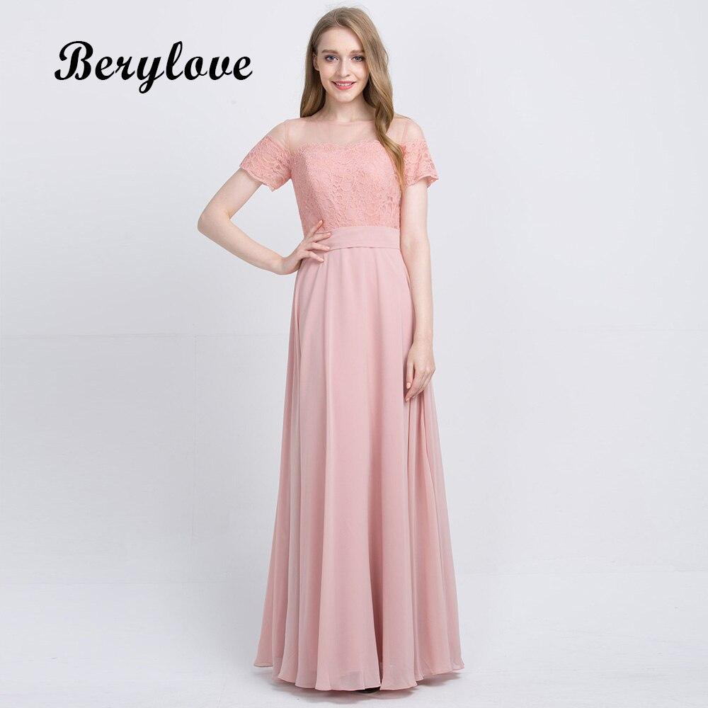 Botong Blush Halter Neck Bridesmaid Dress Off The Shoulder Long Chiffon Dress