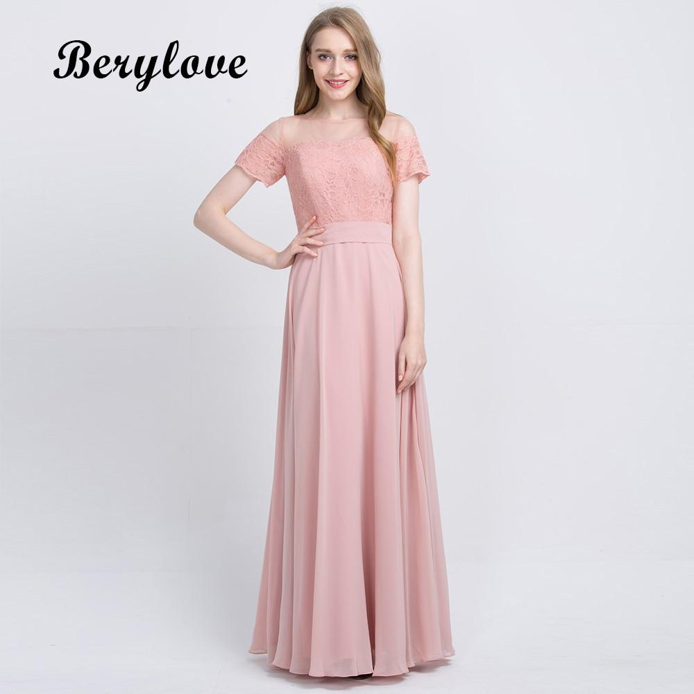 BeryLove Long Blush Pink Chiffon Bridesmaid Dress 2019 Lace Short ...