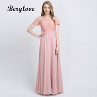 BeryLove Long Blush Pink Chiffon Bridesmaid Dresses 2018 With Sleeves Lace Bridesmaid Dress Plus Size Wedding Party Dresses