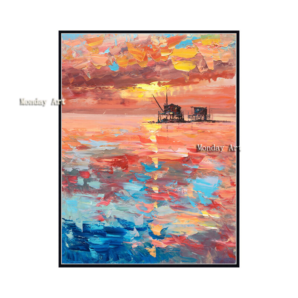 canvas painting pure Hand painted Sailboat Seascape Oil Painting on Canvas Modern Landscape Artwork Wall Picture for Living Room in Painting Calligraphy from Home Garden