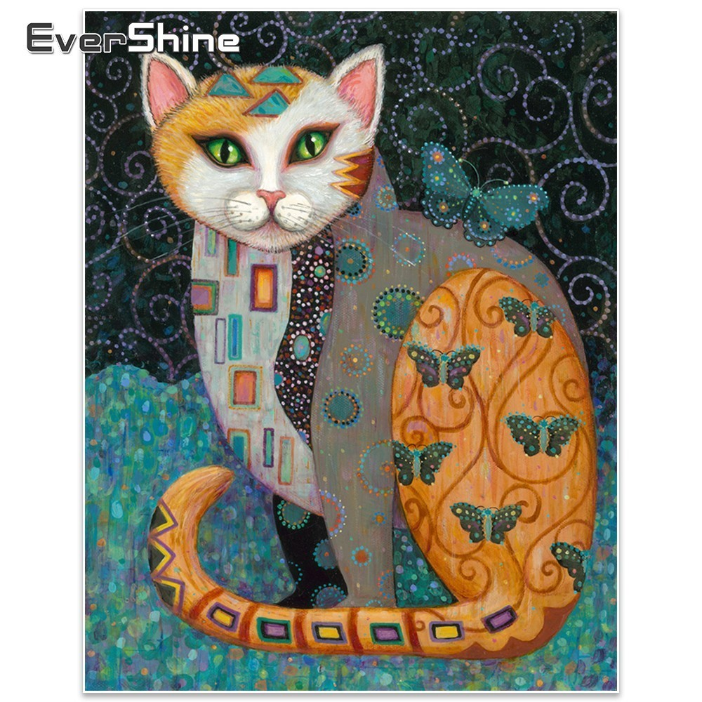 EverShine 5D DIY Diamond Painting Animal Full Square Diamond Embroidery Cat Նկարներ Rhinestone Diamond Mosaic Home Decor