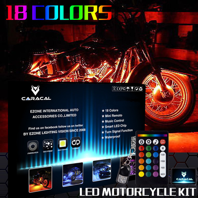 Motorcycle LED Neon Under Glow RGB 12 Pod Lighting Kit For Harley