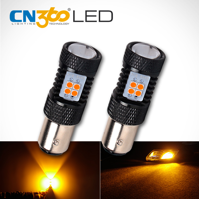 CN360 2PCS High Power SMD3030 Amber Yellow 1157 BAY15D P21/5W Auto LED Lamp DC 12V Car Brake Light