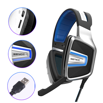 SENICC A8 USB Virtual 7.1 Sound Gaming Headset with Mesh Earmuff LED Noise Canceling Gamer Headphones For Computer PS4 LOL PUBG