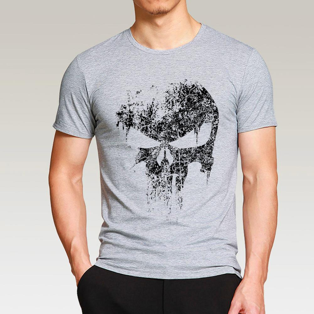 2017 new casual Punisher Skull   t     shirts   man hip hop Men   T  -  Shirt   fashion Tops