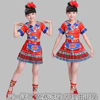 Children's dance suit children miao costumes dance dress uniforms suit with short sleeves of the girls