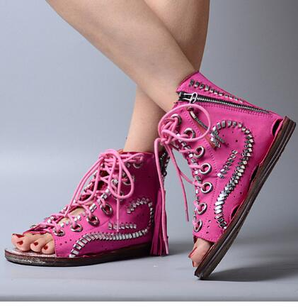 2017 Summer Hot Selling Leather Lace up Sandals Hollow out Flat Peep Toe Causal Shoes Ladies Comfortable Beach Shoes lcx 2017 summer pvc hollow out sandals glitter flat stock the bird nest hole wholesale or retail