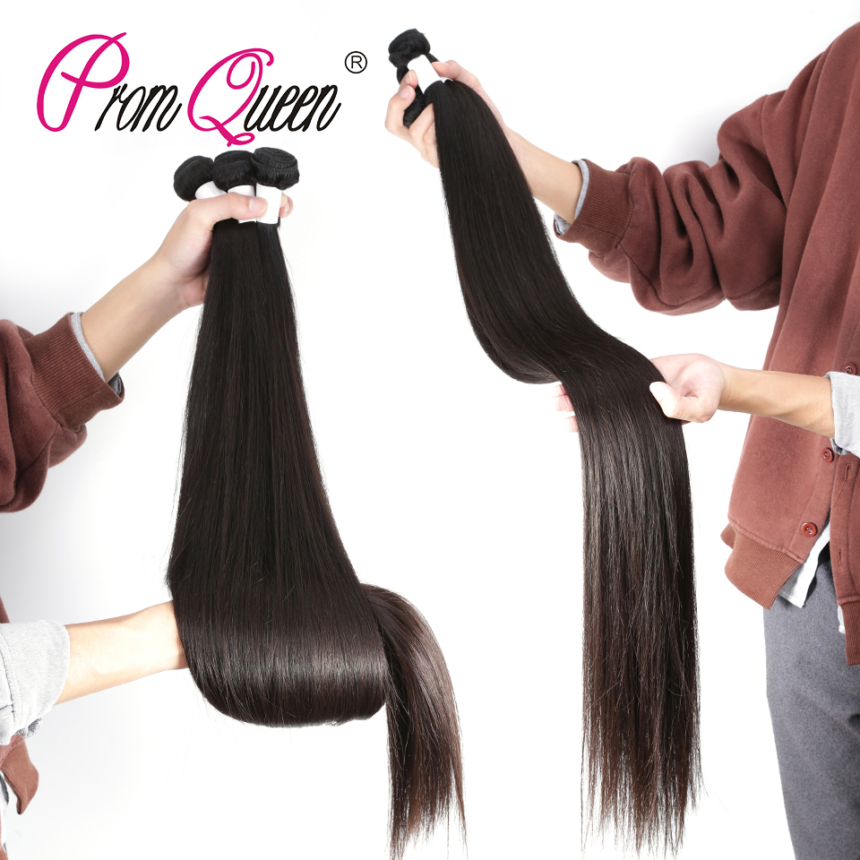 Promqueen 34 36 38 40 Inch Human Hair Bundles Peruvian Hair Straight Weave Long Remy Hair Extensions