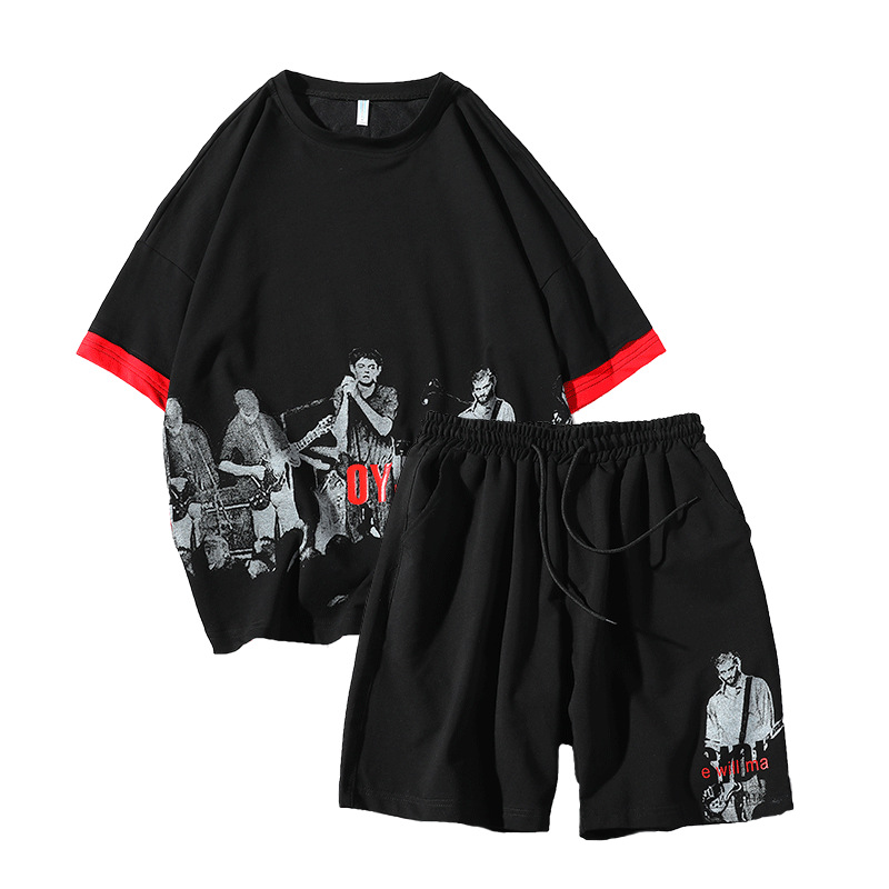 Rlyaeiz 2019 Summer Tracksuit Men Sets High Quality Casual Fashion Printed T Shirts + Shorts Sporting Suits Male Sporting Wear