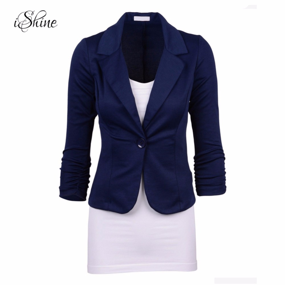 2017 New Women Jacket and Blazers Long Sleeve Notched Collar One-button Slim Pleated Blazers Office Lady Femme Jacket Coats 2017