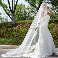 White Ivory Cathedral Wedding Veils Long Lace Edge Bridal Veil Wedding Accessories Bride Mantilla Wedding Veil