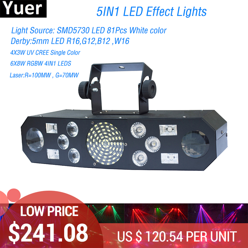 2Pcs Lot Free Shipping NEW Stage Light 5IN1 LED Effect Lights for disco DJ projector machine